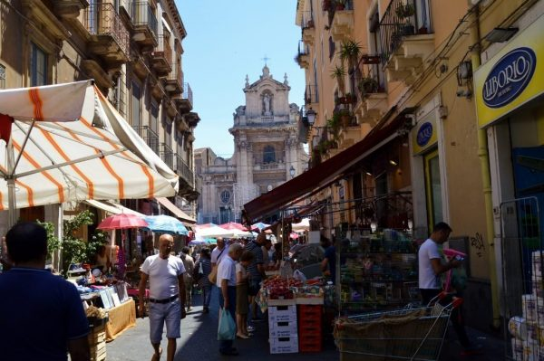 The local vegetable and clothing market in Catania
