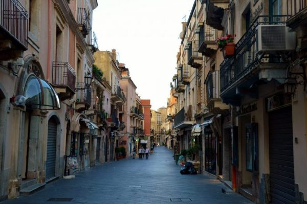 The streets in Taormina in the morning when it's quiet