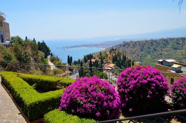 Gardens in Taormina overlooking the coast
