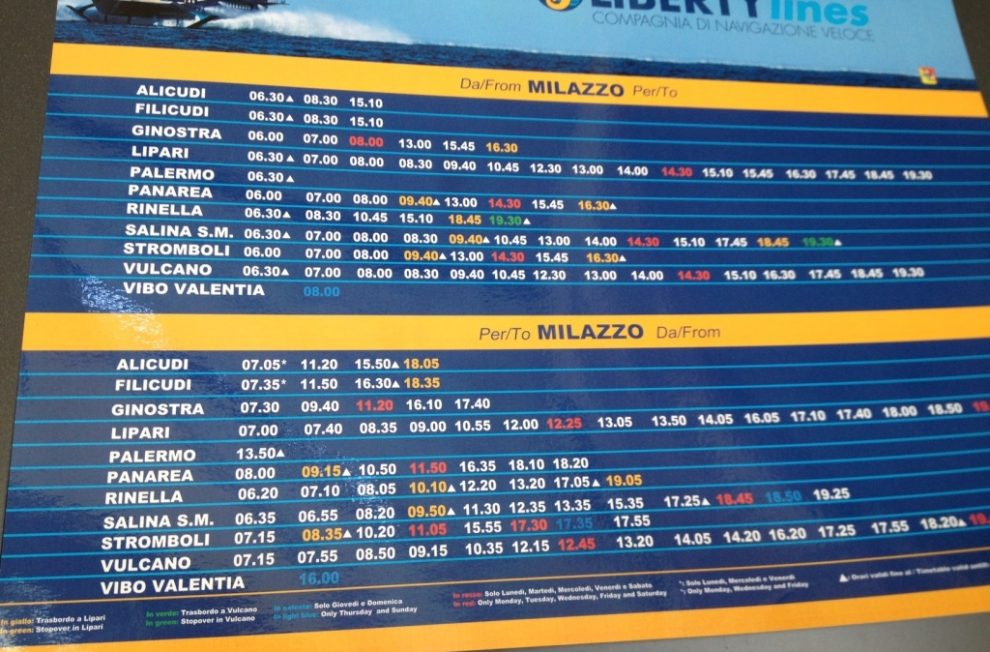 Ferry schedule to Aeolian Island Sicily from Milazzo