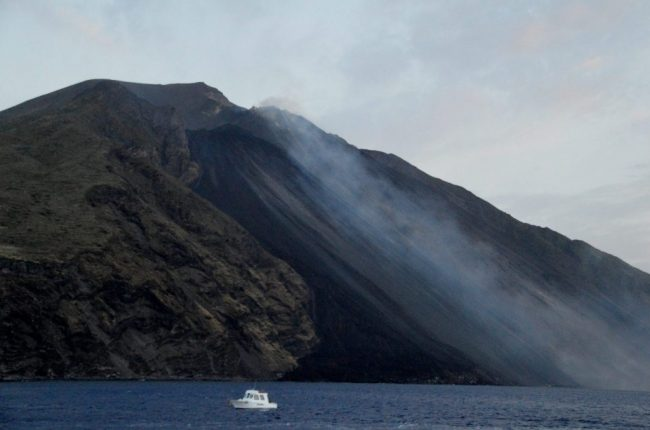 Steaming Stromboli volcano in the Aeolian Islands Sicily