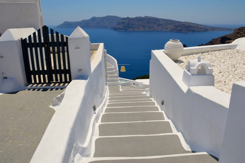 Traditional stairway on Santorini