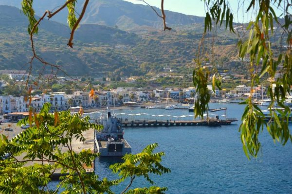 Beautiful port of Lipari town Eolian Islands off Italy