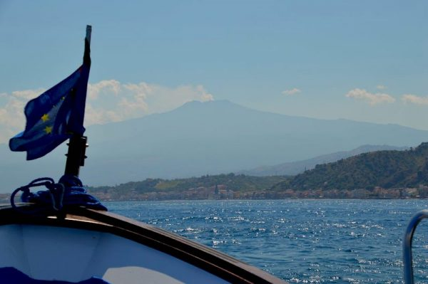 Views of Mount Etna from a tour boat