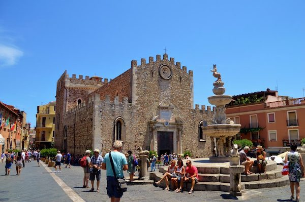 Cathedral of Taormina with the Duomo Fountain