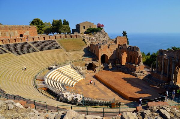 view of the Antique Theater in Taormina toward the sea