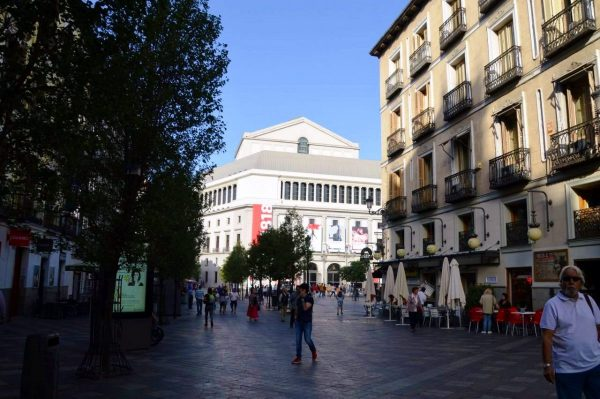 Shopping street of Calle Arenal near the Teatro Real and Opera Metro stop