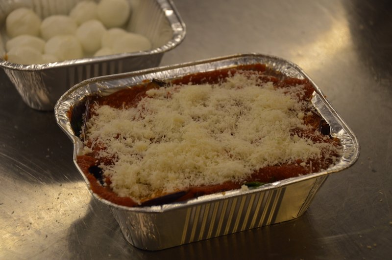 Eggplant Parmigiana ready for the oven
