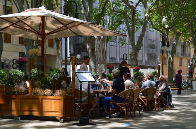 Outdoor cafes on Passeig del Born in Majorca