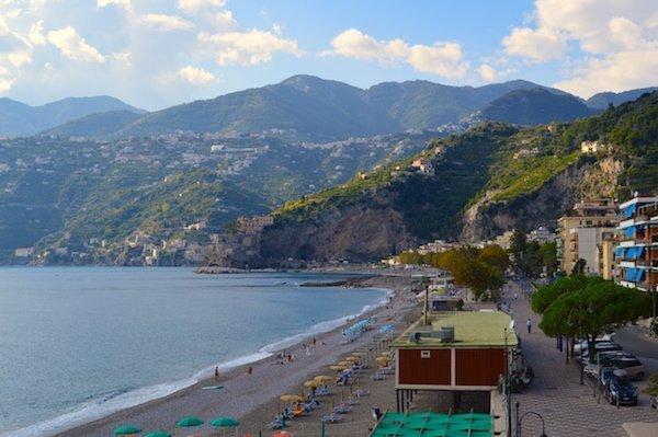 The beautiful Maiori Beach on the Amalfi Coast