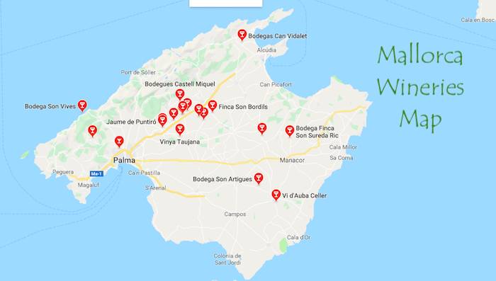 Mallorca Wineries Map