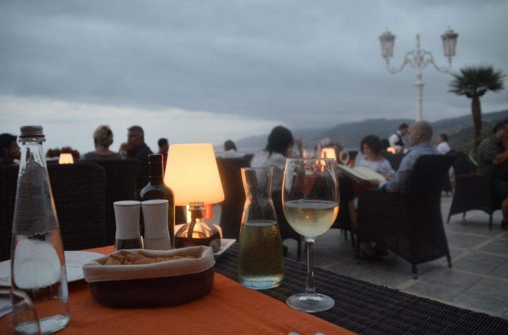 low-light dinner on the terrace at Hotel Kalura Cefalu