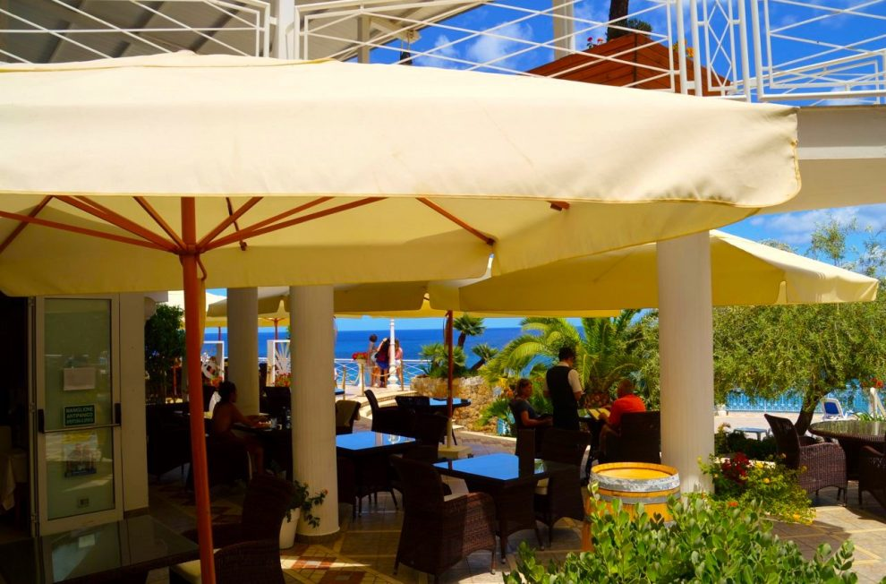 The stunning outdoor dining area at Kalura Cefalu Sicily - best beachfront hotel in Cefalu