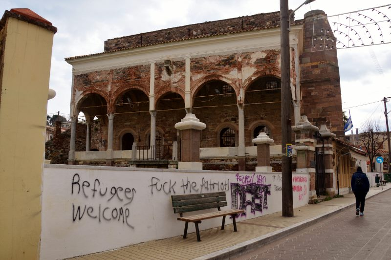 Architecture with graffiti in Mytilene