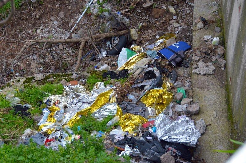 Debris on Lesbos Mytilene Greece