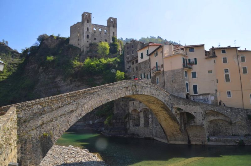 Dolceaqua Italy old bridge with castle