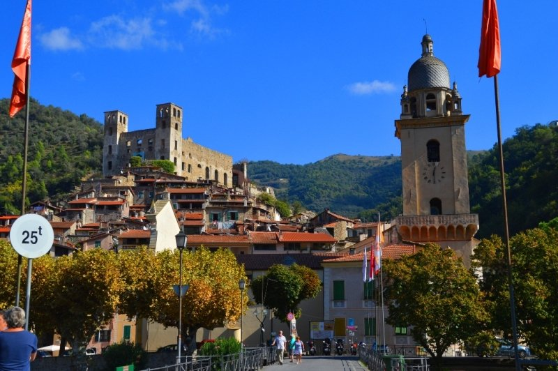 Entrance to Dolceacqua, Italy with Old Town and Castle
