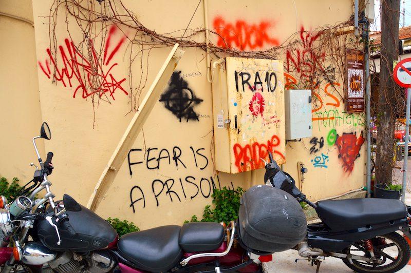 Graffiti Fear is a prison Lesbos Greece