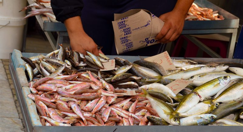 Fishmonger in Mytilene, Lesbos Greece