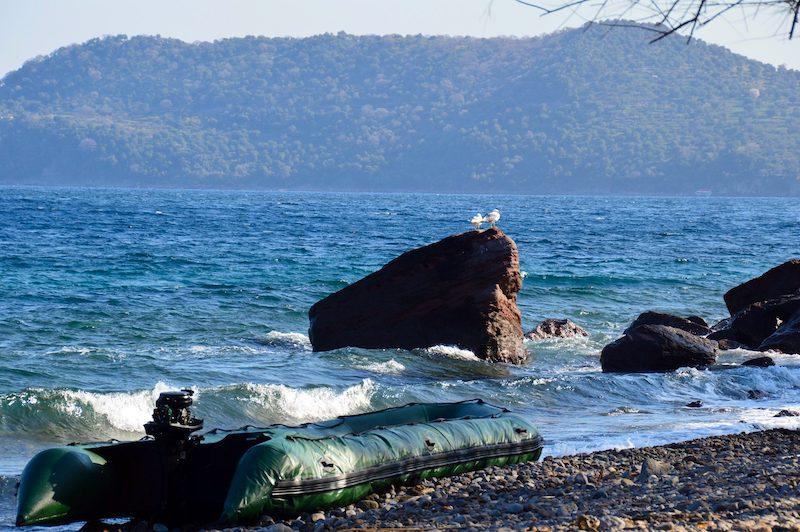 Dinghy on Greek Coast Turkey in background