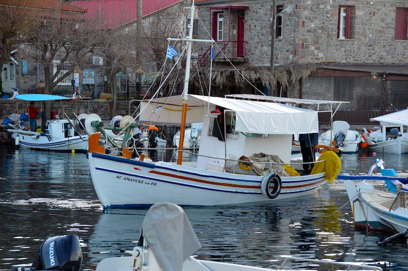 Skala Skyminias's Harbor in North Lesbos