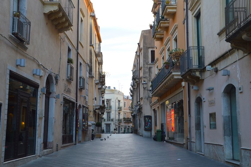 Empty streets of Taormina in the morning