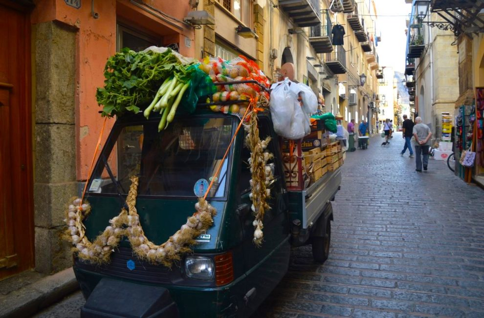 In traditional Sicilian style, you can guy fruits and vegetables from mobile Api trucks.
