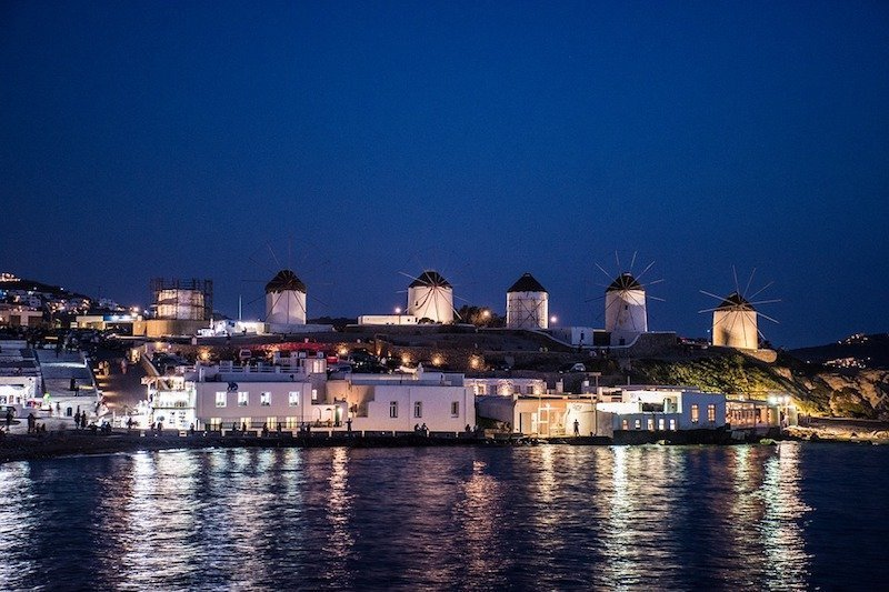 Mykonos Greece at night