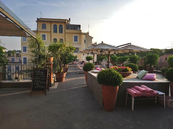 Lovely rooftop terrace at Hotel Ponte Sisto