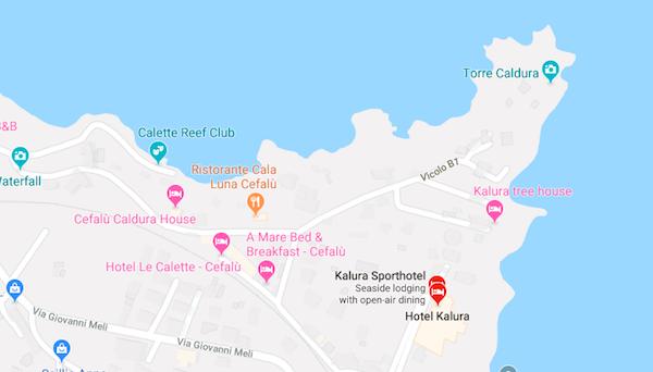 Hotel Kalura Cefalu Sicily Location