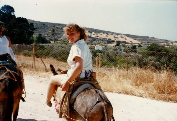 Riding donkeys in Paros, Greece