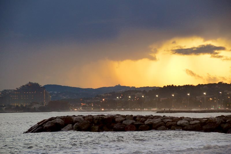 Sunset in Cagnes-sur-mer with Villeneuve Loubet in background