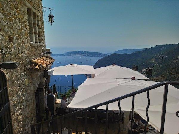 Lovely terrace in Eze Village looking toward Cap Ferrat