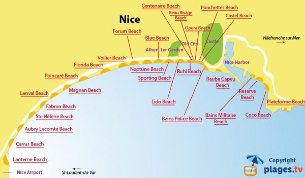 The beach map of Nice, France