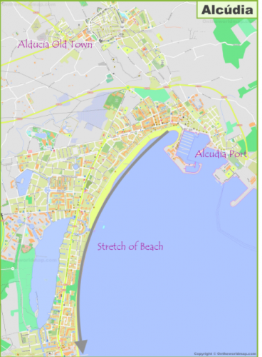 Map of Alcudia Old town, Alcudia Port and Alcudia beach area