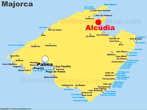 Map of where Alcudia is in Majorca