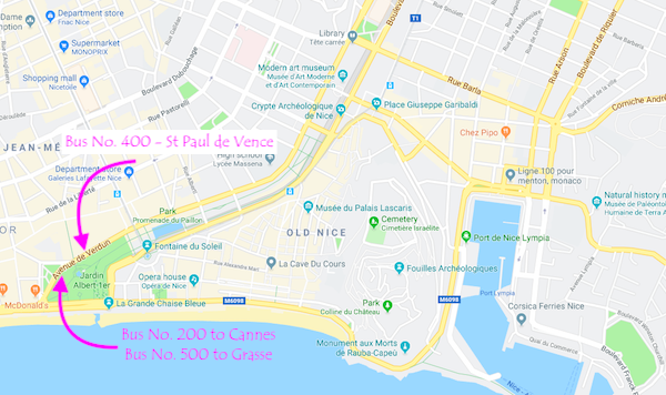 Location of Bus numbers 200 400 and 500 in Nice France