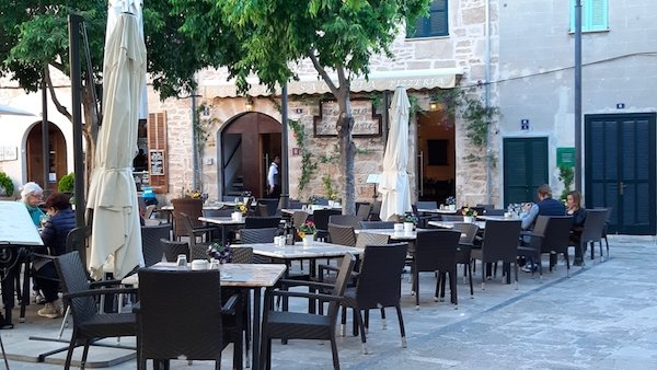 Quaint piazza in Alcudia Majorca