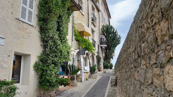 St Paul de Vence rampart and cobblestone path