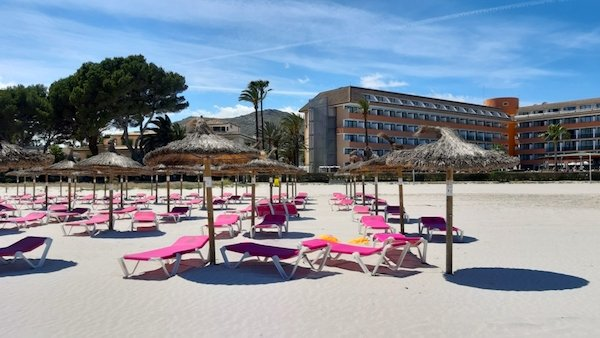 Sunloungers on Alcudia Beach