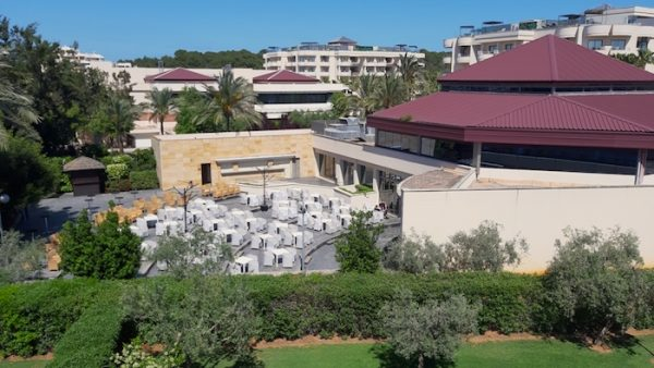 View from my balcony at Sa Coma Playa toward the 5* Protur Biomar Gran Hotel & Spa