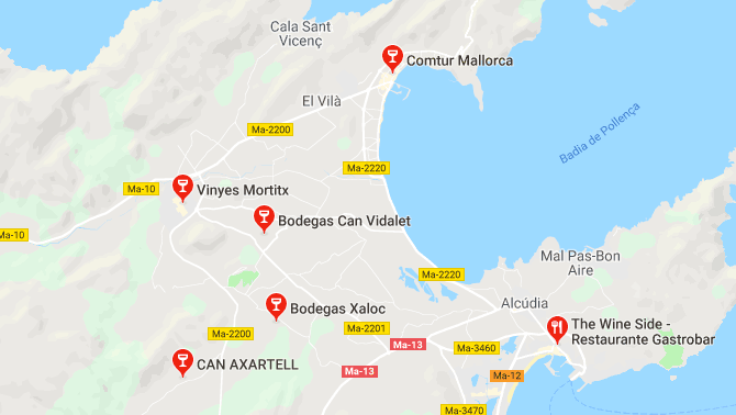 List of wineries near Alcudia Majorca