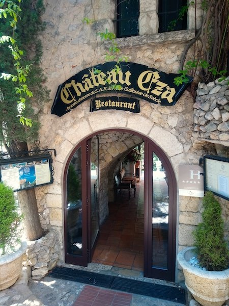 Entrance to the Chateau Eza Restaurant and Hotel in Eze