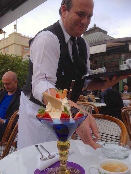 Wiater service ice cream at Cafe de Paris Monaco