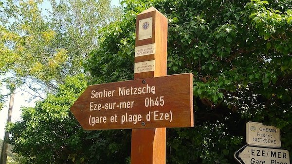 Nietzsche footpath Sign post in Eze