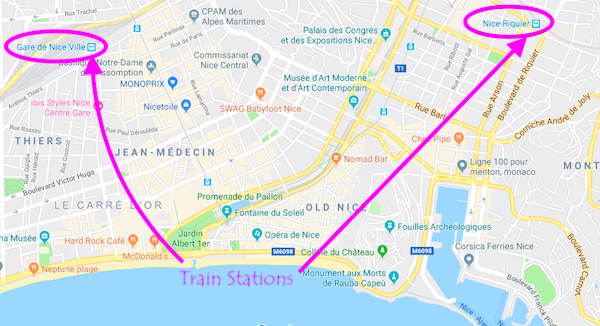 Train Station locations in Nice