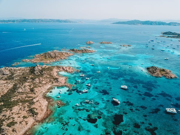 aerial views of La Maddalena islands