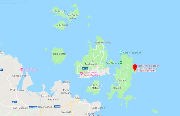 Cala Coticcio Sardinia Map