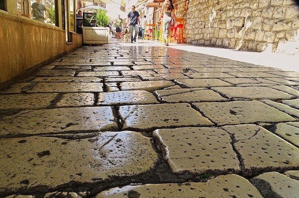 Cobblestone street in Split Croatia