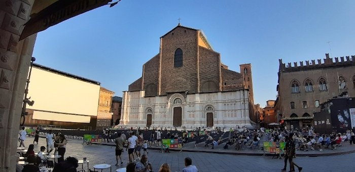 Basilica of San Petronio with the unfinished facade.